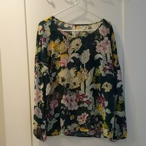 Forest green Guess Floral blouse